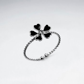 Open Ended Sterling Silver Enamel Flower Ring
