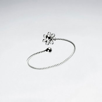 Open Ended Sterling Silver Twist Flower Ring