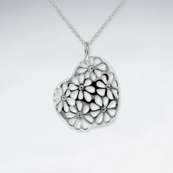 Open Flower Filigree Pattern Silver Pendant