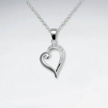 Open Heart CZ Silver Pendant