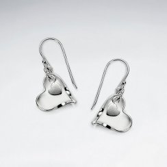 Open Heart Dangle Accent Dangle Hook Earrings in Silver