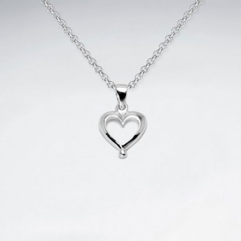 Open Heart of Fashion Sterling Silver Pendant