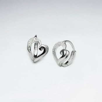 Open Hearts CZ and Sterling Silver Stud Earrings