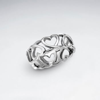 Open Hearts Sterling Silver Simple Romance Ring