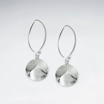 Open Marquise Silver Circle Suspended Dangle Earrings