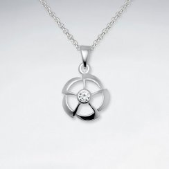 Open Modern Flower Pendant With CZ Gemstone