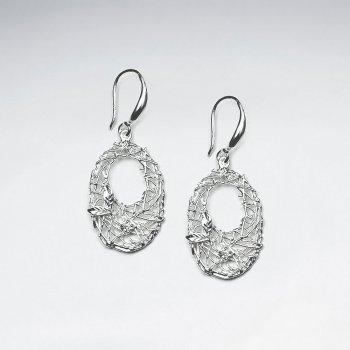 Open Oval Drop Earrings in Silver With CZ