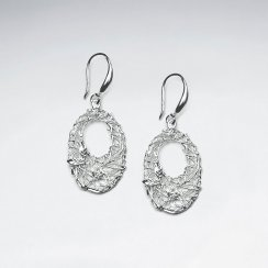 Open Oval Drop Earrings in Silver With CZ