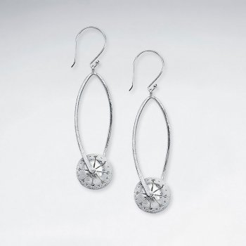 Open Oval Silver Dangle Hook Earrings With Drop Charm