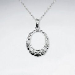 Open Oval Textured Polished Silver Pendant
