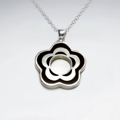 Open Sakura Brown Stone Silver Pendant