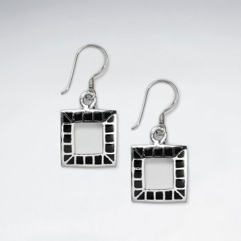 Open Square Dangling Silver Earring With Black Stone