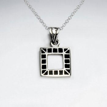 Open Square Silver Pendant With Black Stone Pattern