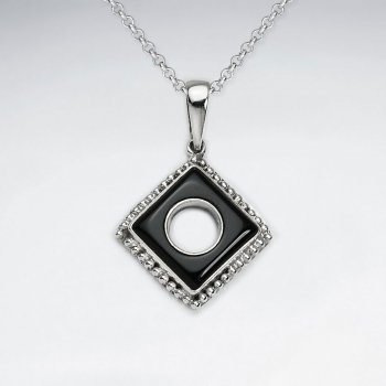 Open Squre Silver Pendant With Dotted Edge
