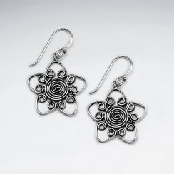 Open Star Design Oxidized Earrings With Intricate Swirls Featured Within