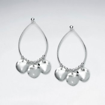 Open Teardrop Earrings With Triple Dangle Charms