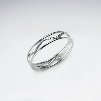 Openwork Band Sterling Silver Wave Ring
