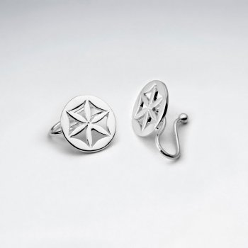 Openwork Circle Flower Of Life Ear cuffs in Sterling Silver