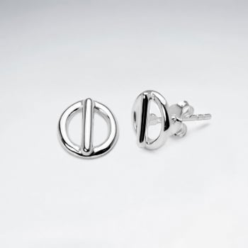 Openwork Circle & Line Sterling Silver Stud Earrings