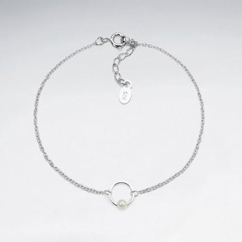 Openwork Circle Sterling Silver and Pearl Bracelet