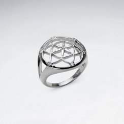 Openwork Filigree Star Flower Ring in Sterling Silver