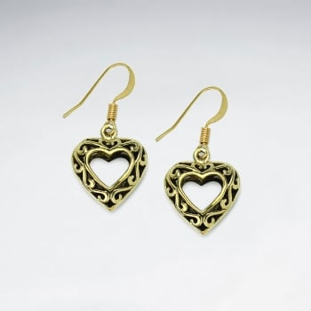 Openwork Hearts Filigree Brass Dangle Earrings