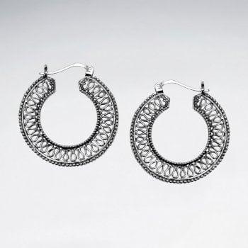 Openwork Loop Sterling Silver Hoop Earrings