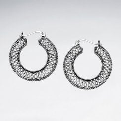 Openwork Loop Sterling Silver Hoop Earrings