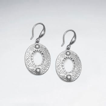 Openwork Oval Crystal Hook Earrings