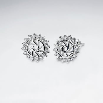Openwork Pinwheel CZ  Sterling Silver Earrings