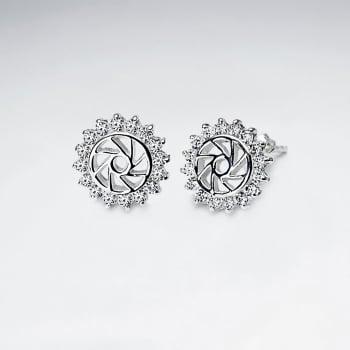 Openwork Pinwheel CZ  Sterling Silver Earrings