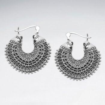 Openwork Sterling Silver Bali Hoop Earrings
