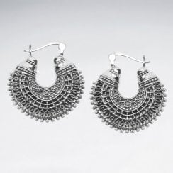 Openwork Sterling Silver Bali Hoop Earrings