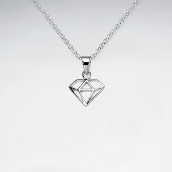 Openwork Sterling Silver Diamond Shape Pendant