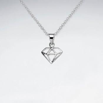 Openwork Sterling Silver Diamond Shape Pendant