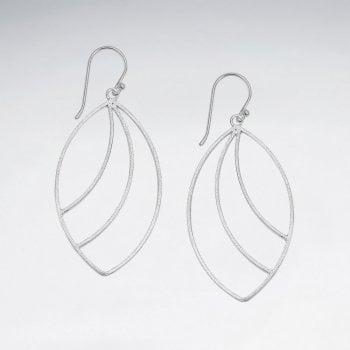 Openwork Sterling Silver Marquis Style Hook Earrings