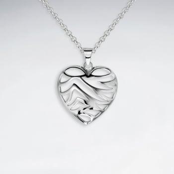 Openwork Sterling Silver Striped Heart Pendant