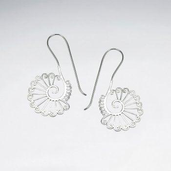 Openwork Swirl Seashell sterling Silver Drop Earrings