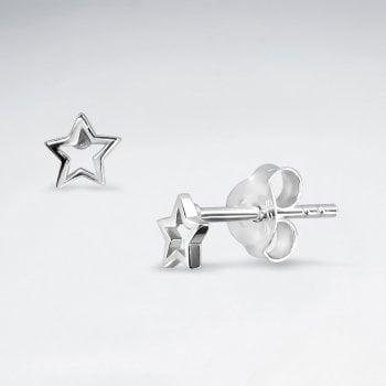 Openwork Tiny Sterling Silver Star Stud Earrings