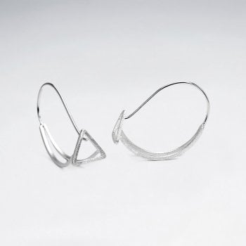 Openwork Triangular 925 Silver Earrings