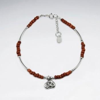 Orange Bead Charm Bracelet