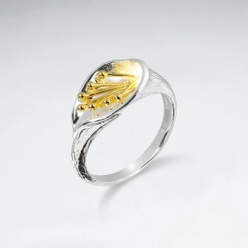 Organic Flow Lilly Flower Sterling Silver Ring