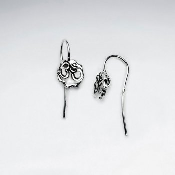 Organic Flower Shape Oxidized Silver Petite Drop Earrings