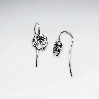 Organic Flower Shape Oxidized Silver Petite Drop Earrings