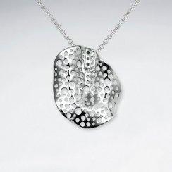Organic Shape Rain Splattered Polished silver Pendant