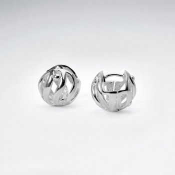 Ornamental Openwork Orb Earrings in Sterling Silver
