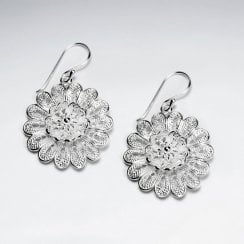 Ornamented Silver Flower Earrings with Shepherds Hook