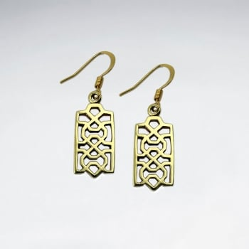 Ornate Brass Rectangle Filigree Dangle Earrings