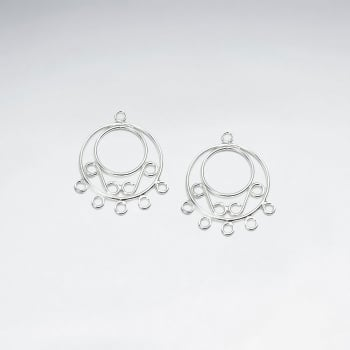 Ornate Circlet Hoops Earring Accessory in Sterling Silver Pack Of 10 Pieces