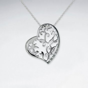 Ornate Etched Silver Heart Pendant